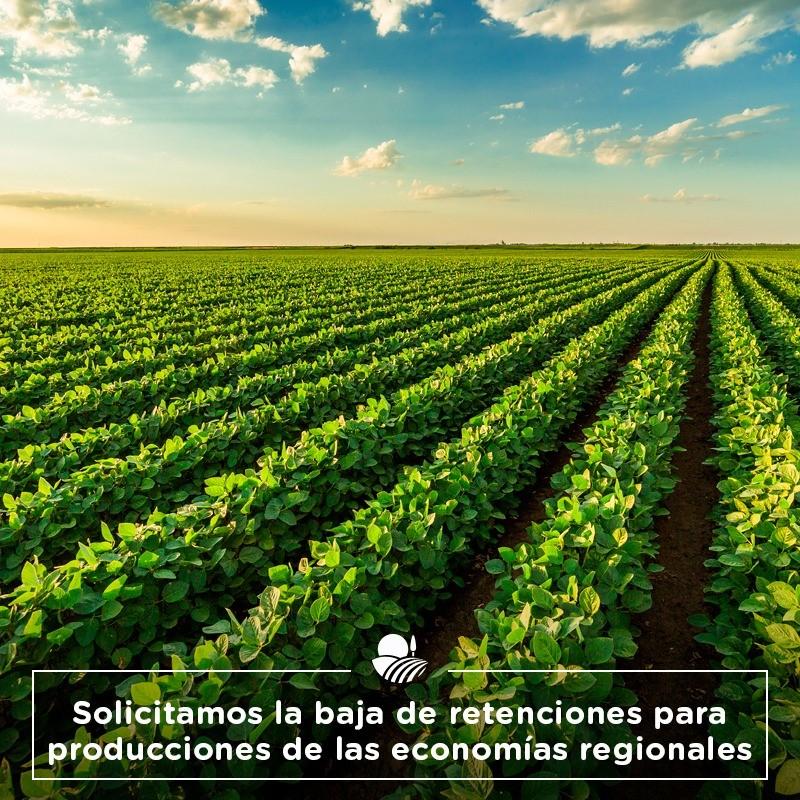 Solicitamos la baja de retenciones para producciones de las economías regionales