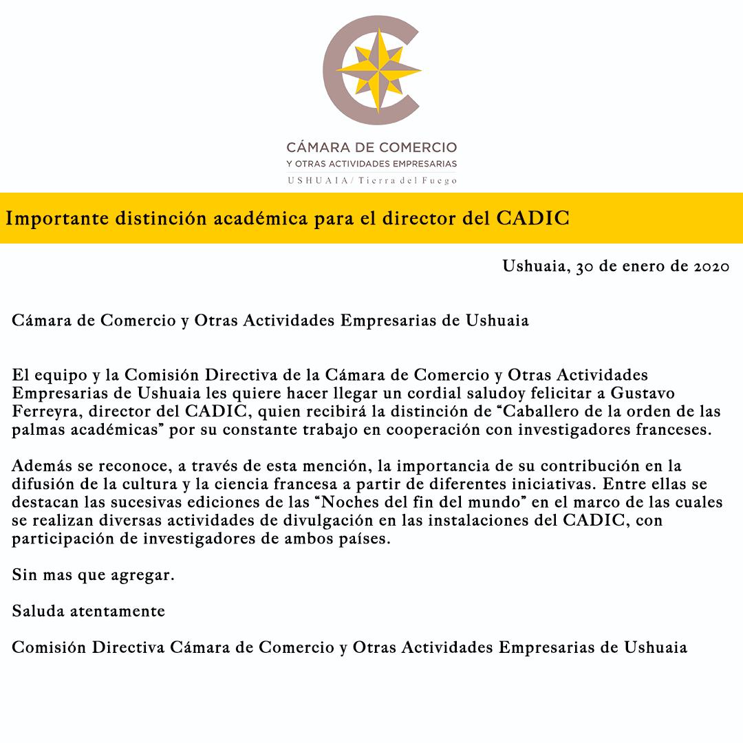 Importante distinción académica para el director del CADIC