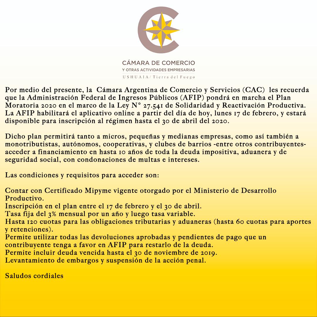 Plan moratoria 2020 en el marco de la Ley de Solidaridad y Reactivación Productiva.