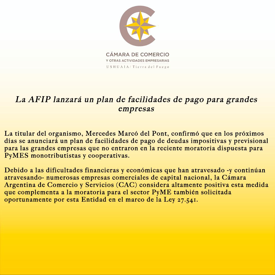 La AFIP lanzará un plan de facilidades de pago para grandes empresas