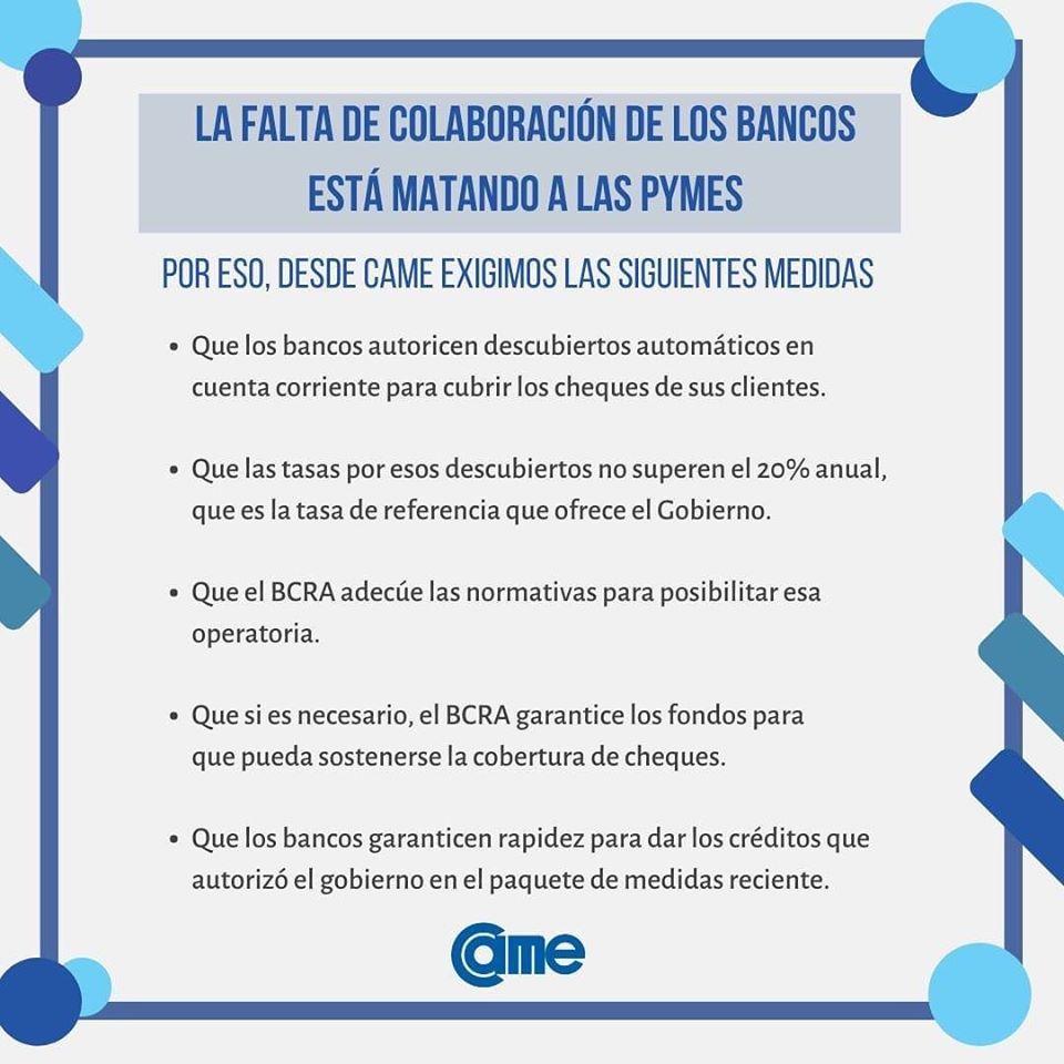 LA FALTA DE COLABORACIÓN DE LOS BANCOS ESTÁ MATANDO A LAS PYMES