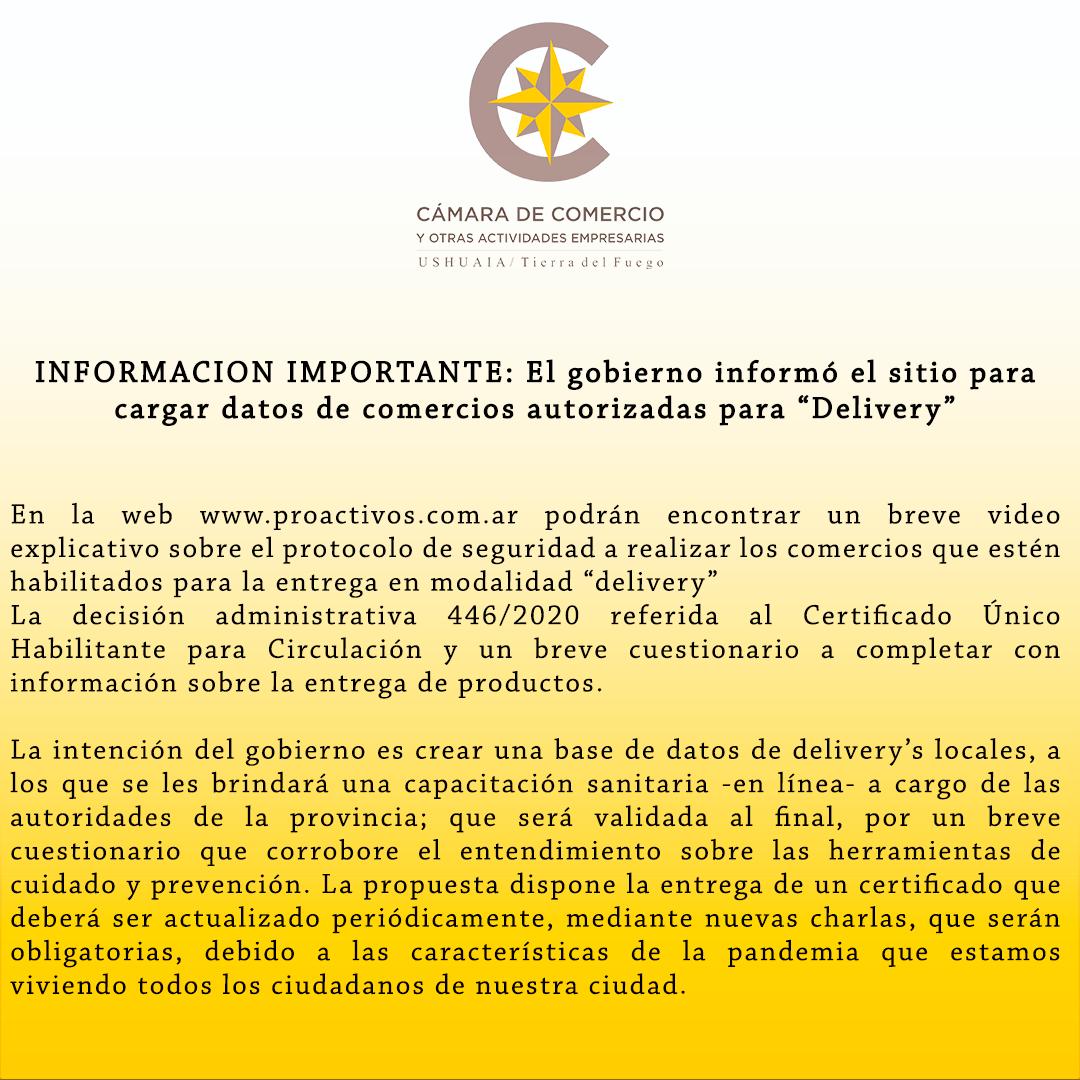 """INFORMACION IMPORTANTE: El gobierno informó el sitio para cargar datos de comercios autorizadas para """"Delivery"""""""