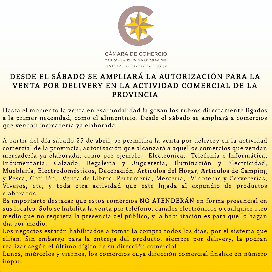 DESDE EL SÁBADO SE AMPLIARÁ LA AUTORIZACIÓN PARA LA VENTA POR DELIVERY EN LA ACTIVIDAD COMERCIAL DE LA PROVINCIA