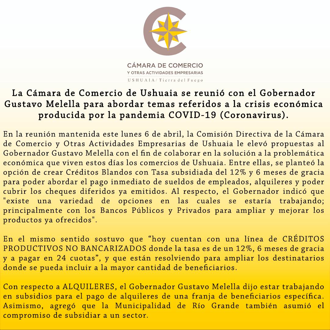 La Cámara de Comercio de Ushuaia se reunió con el Gobernador Gustavo Melella para abordar temas referidos a la crisis económica producida por la pandemia COVID-19 (Coronavirus).