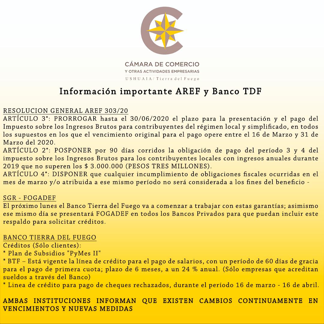 Información importante AREF y Banco TDF