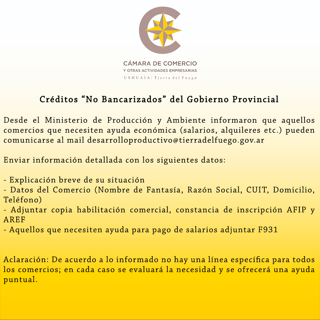 """Créditos """"No Bancarizados"""" del Gobierno Provincial"""