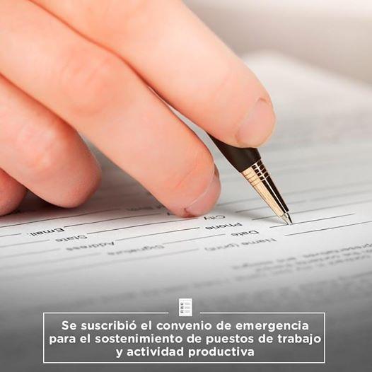 Se suscribió el convenio de emergencia para el sostenimiento de los puestos de trabajo y actividad productiva