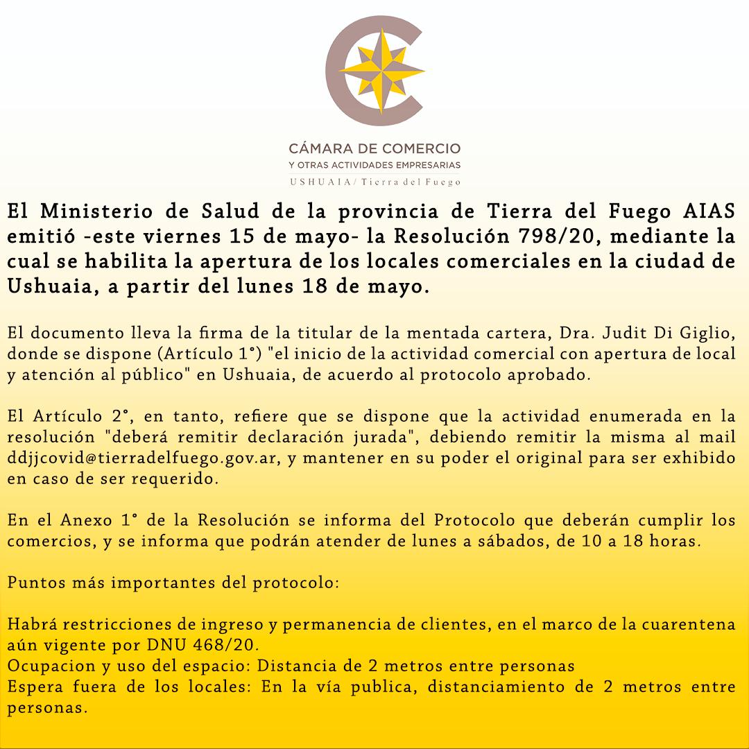 El Ministerio de Salud de la provincia de Tierra del Fuego AIAS emitió -este viernes 15 de mayo- la Resolución 798/20, mediante la cual se habilita la apertura de los locales comerciales en la ciudad de Ushuaia, a partir del lunes 18 de mayo
