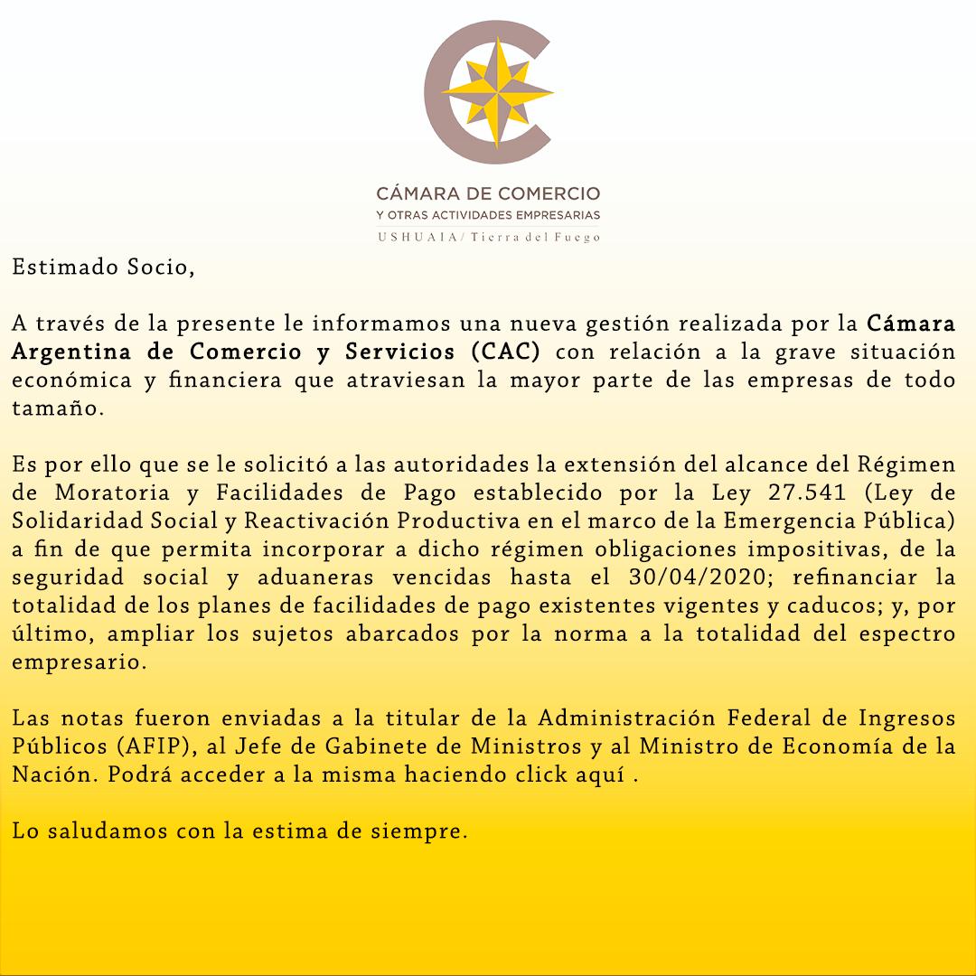 Nueva gestión realizada por la Cámara Argentina de Comercio y Servicios (CAC) con relación a la grave situación económica y financiera que atraviesan la mayor parte de las empresas de todo tamaño.
